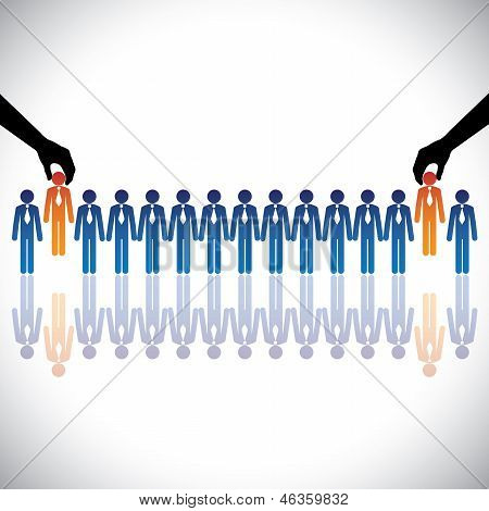 Concept vector graphic- hiring(chosing) the best job candidates. The graphic shows company making a choice of people with right skills for the job among many candidates competing for the same post poster