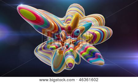 colorful abstract amorphous shape against a dark background
