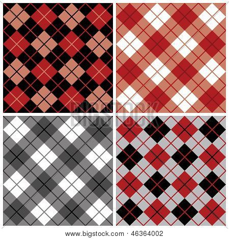 Argyle-Plaid Pattern in Black and Red