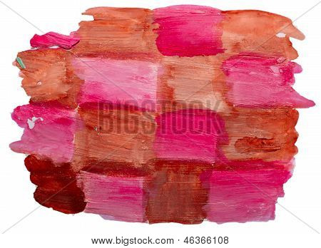 art brown, red, square watercolor isolated for your design