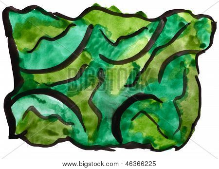 art green watercolor isolated for your design