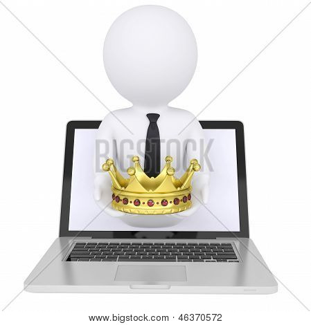 3d man out of the computer holds a golden crown