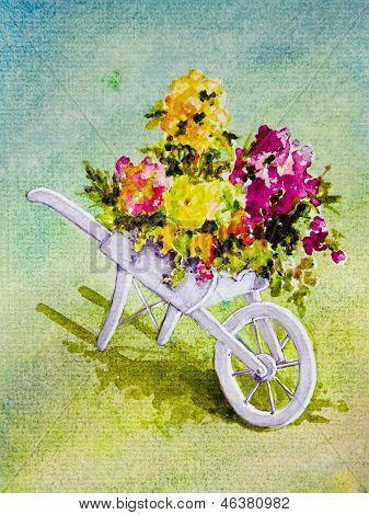White Wheelbarrow With Flowers