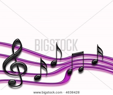 Musical Staff Isolated In Purple