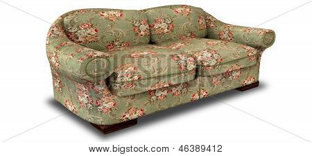 An old vintage sofa with a green and red floral fabric on an isolated background poster