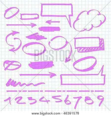 Set of vector marker design elements. poster