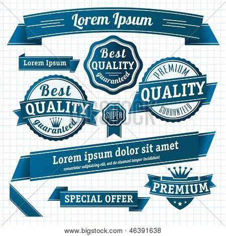 Blue retro style guarantee and quality label collection. Vector.