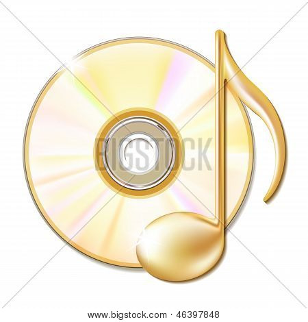 Gold musical note and cd disk
