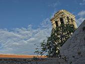 Medieval mediterranean garden of the St. Lawrence monastery in Sibemik poster
