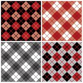 Four seamless argyle and plaid patterns in black and red. poster