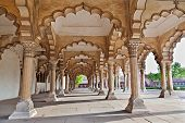 Many arches inside Red Fort Agra India poster