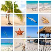 Collage of tropical beach scenes made from 8 pictures poster