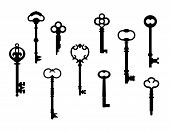 Vector collection of ten skeleton keys referenced from actual antique keys. poster