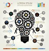 Modern Business Concept , Info Graphic Elements. Idea Lightbulb Solution. poster