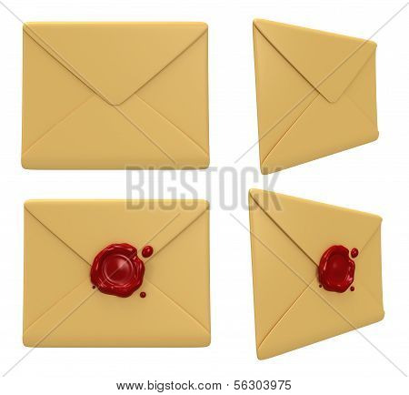 Set of blank mail envelopes with red wax seal over white