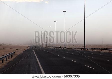 Highway In Qatar During Sandstorm