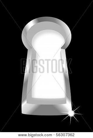 Silver keyhole on a black background