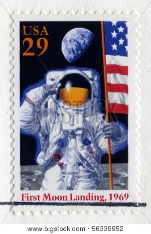 Us Stamp Celebrating The 25Th Anniversary Of The First Moon Landing
