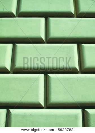 Green Concrete Block Wall