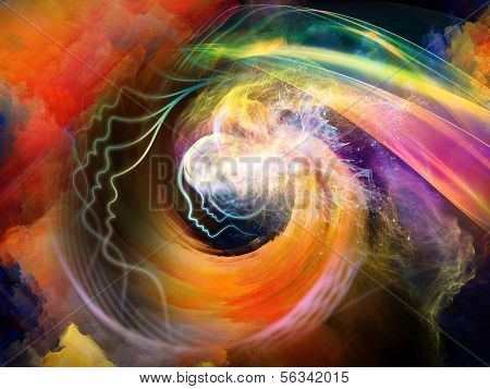 Geometry of the Soul series two. Abstract design made of human profile and abstract elements on the subject of spirituality science creativity and human mind poster