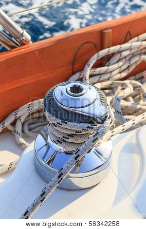 Sailboat Winch And Rope Detail On Yacht