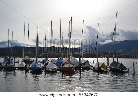 Sailboats On The Lake In Lucerne