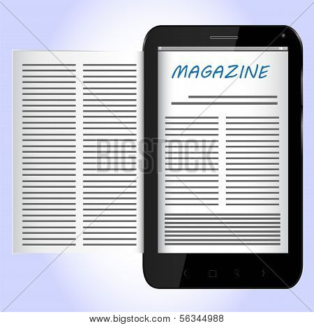 Magazine on Black Smartphone