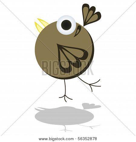 Funny Little Cartoon Bird Vector Illustration