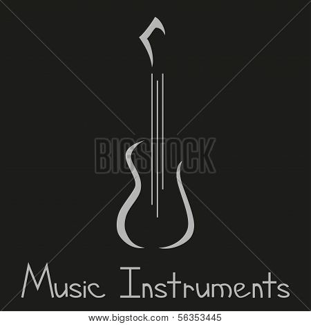 Musical Instruments Shop Logo With Guitar. Vector Illustration