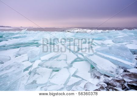 Pieces Of Shelf Ice On Frozen Ijsselmeer Lake