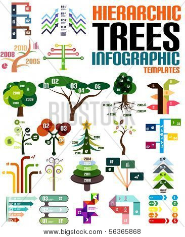 Hierarchic tree infographic templates set