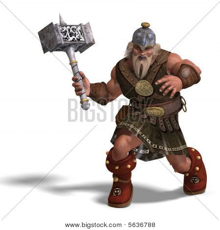 3D rendering of a mighty fantasy dwarf with a hammer with clipping path and shadow over white poster