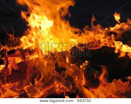 Cosy Outdoor Beach Bonfire Made From Driftwood Logs