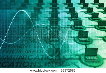 Computer Network LAN System in 3d Abstract