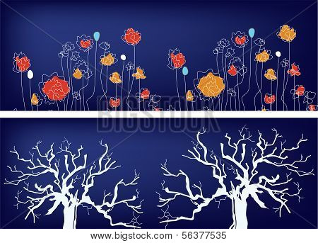 Floral banners with trees and grass