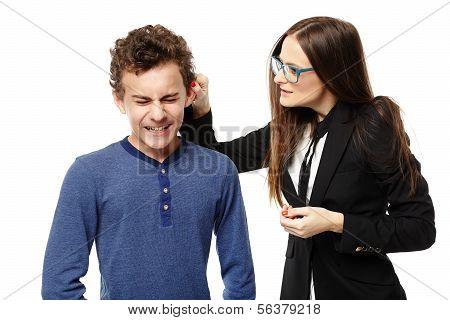Teacher Grabbing Student's Ear
