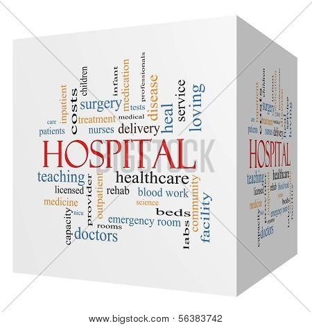 Hospital 3D cube Word Cloud Concept with great terms such as doctors nurses heal medicine and more. poster