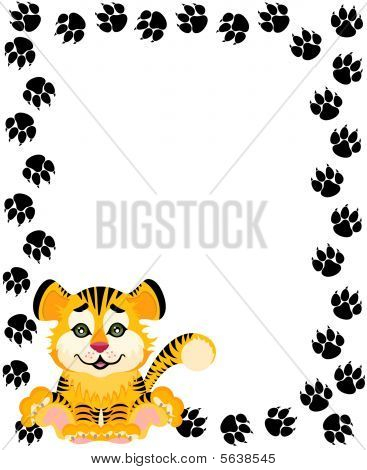 Lovely tiger toddler on a bright background for design poster