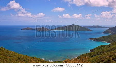 Caibbean panorama of deserted coast and small deserted islands in the BVI