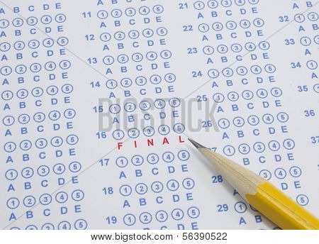 A blue circle Scranton test sheet with pencil and the word FINAL in red poster