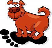 cartoon vector illustration of dog on human footprint poster