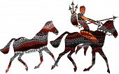 man goes on wild horses on the hunt in ethnic style poster