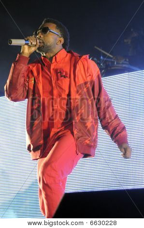 Kanye West performing live.