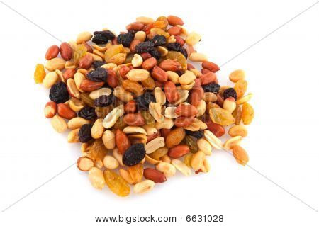 Mixed peanuts with dried fruit isolated over white poster