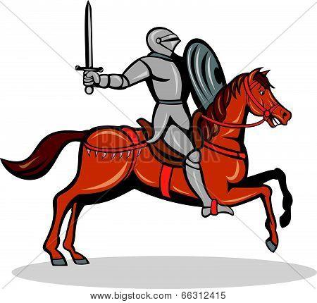 Knight Riding Horse Cartoon