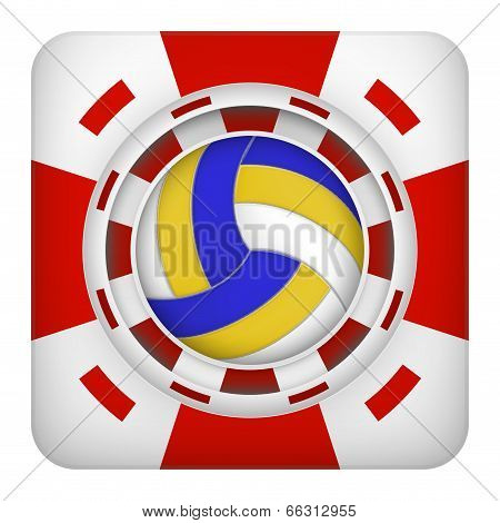 Square red casino chips of volleyball sports betting