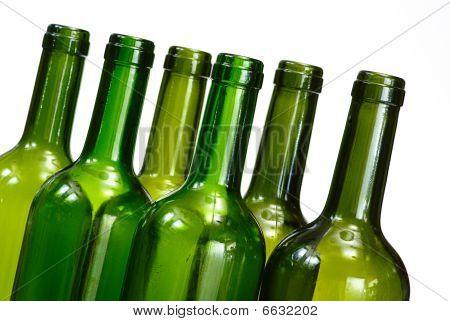 Wine Bottles Isolated Over White