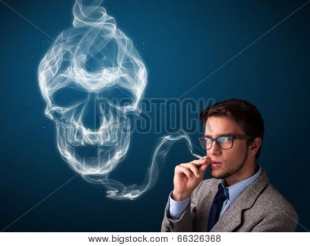 Handsome young man smoking dangerous cigarette with toxic skull smoke  poster
