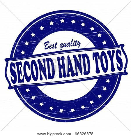 Stamp with text second hand toys inside vector illustration