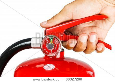 Holding fire extinguisher isolated, with clipping path